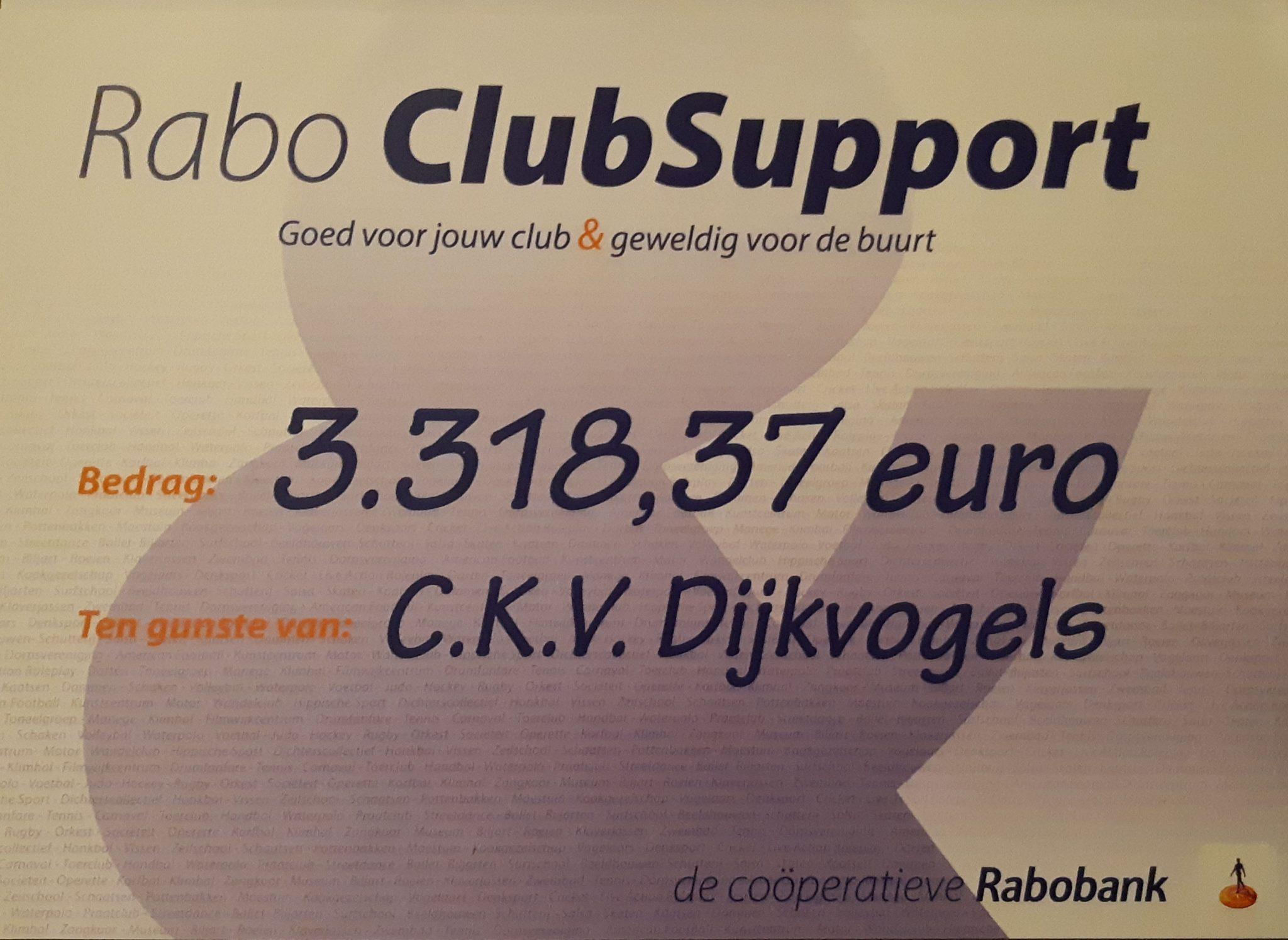 BEDANKT VOOR HET STEMMEN BIJ RABO CLUBSUPPORT!